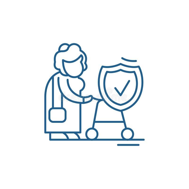 养恤基金线象概念 养恤基金平的传染媒介标志,标志,概述例证 库存例证