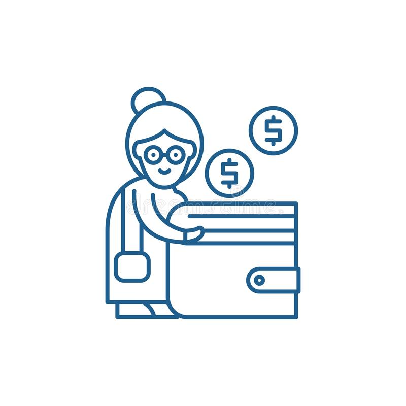 养恤金缴款线象概念 养恤金缴款平的传染媒介标志,标志,概述例证 库存例证
