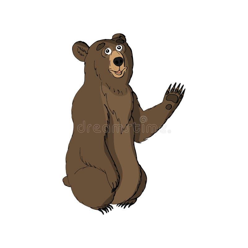 养爪子的逗人喜爱的滑稽的动物棕熊 背景查出的白色 向量例证