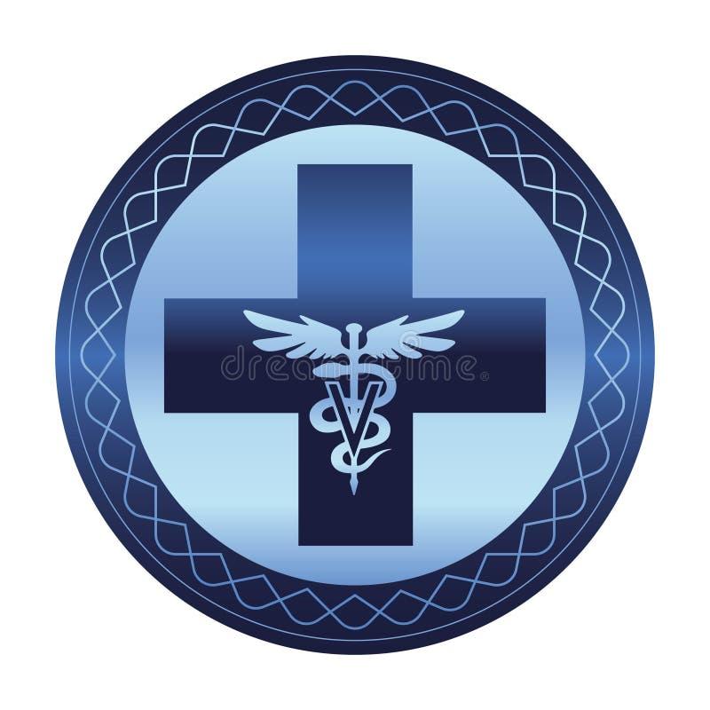 兽医关心标志-商标众神使者的手杖 库存例证
