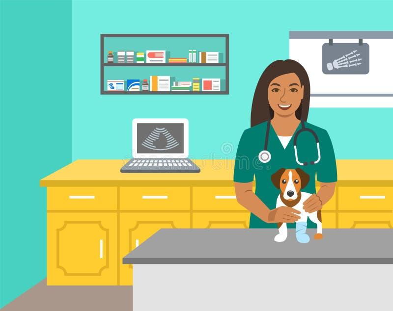 兽医医生拿着在考试桌上的狗 向量例证