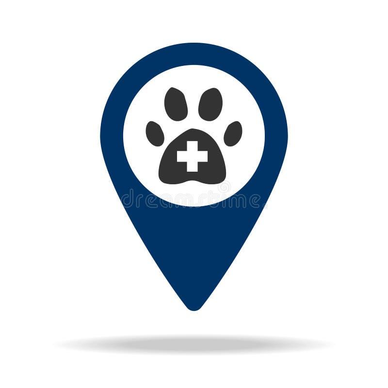 兽医地方在蓝色地图别针象的 地图点的元素流动概念和网apps的 网站设计的a象 皇族释放例证