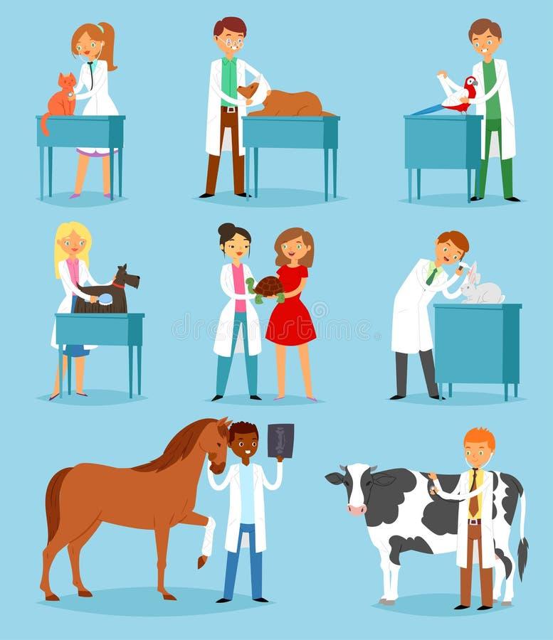 兽医对待宠物患者猫或狗例证套狩医人的传染媒介兽医医生男人或妇女与 向量例证