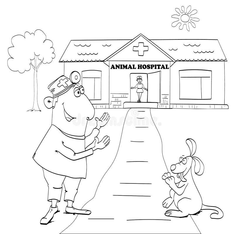 兽医诊所例证 有狗患者的医生 库存例证