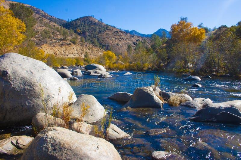 内华达山山的山河,加利福尼亚,美国 库存照片