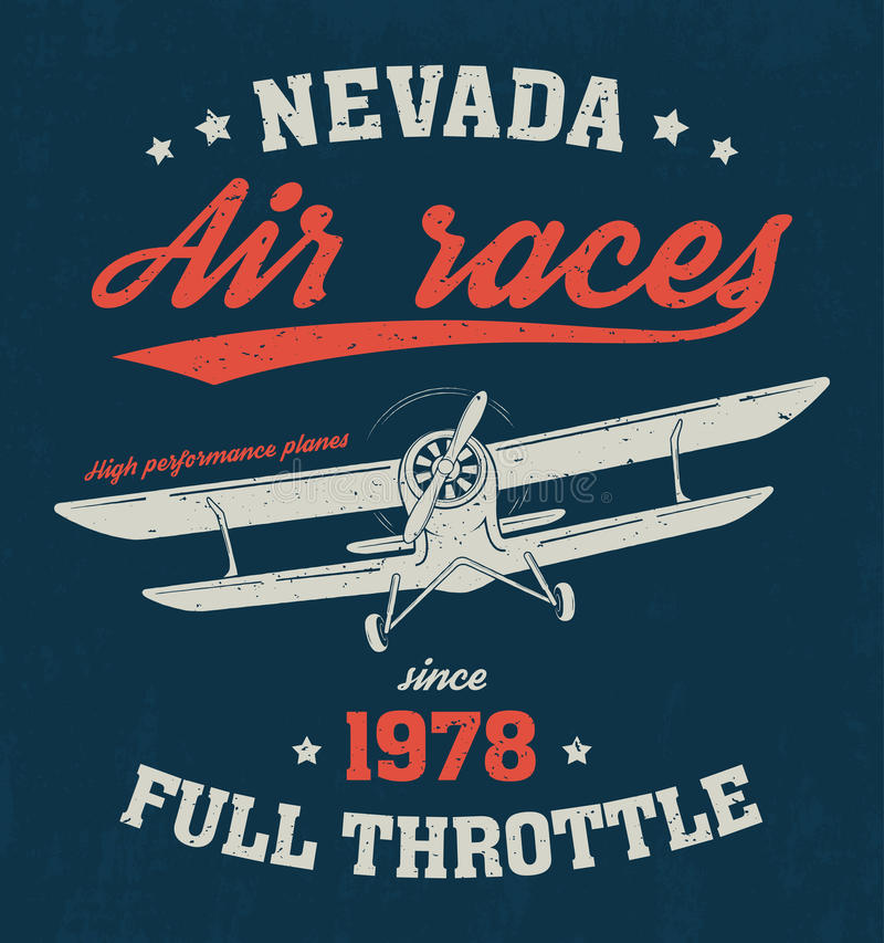 内华达T恤杉设计,印刷品,印刷术,与飞机的标签 向量例证