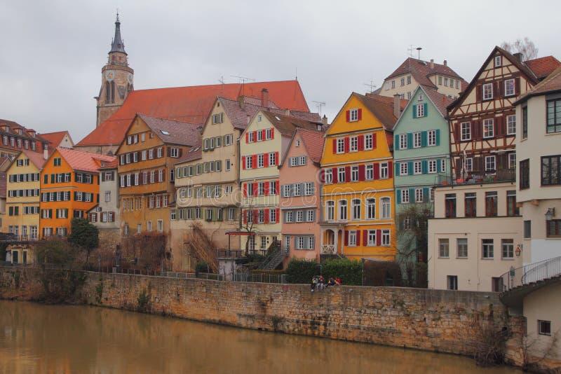内卡河和城市 蒂宾根,巴登-符腾堡州,德国 库存图片
