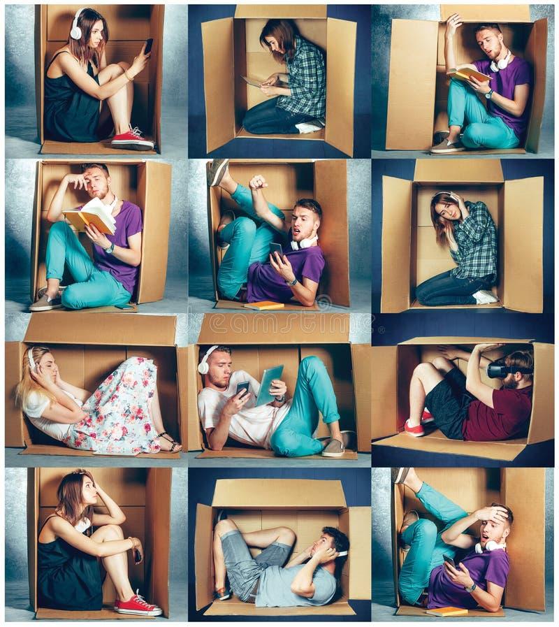 内向概念 坐在箱子里面的男人和妇女拼贴画  免版税库存图片