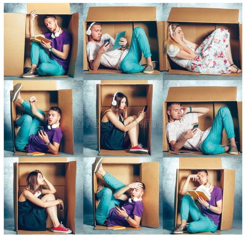 内向概念 坐在箱子里面的男人和妇女拼贴画  库存照片