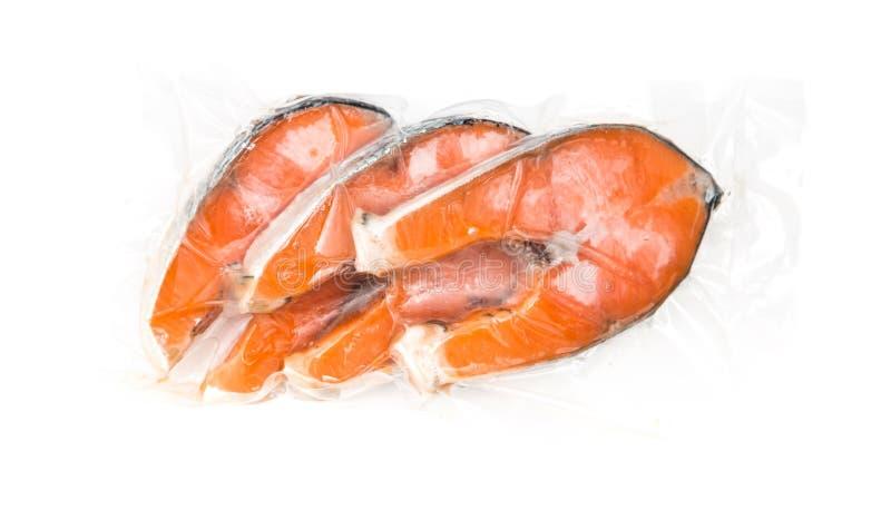内圆角冻结的三文鱼 免版税库存照片