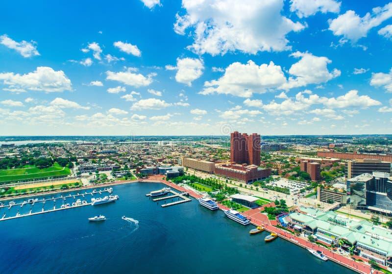 内在港口的鸟瞰图在巴尔的摩,马里兰 免版税库存图片