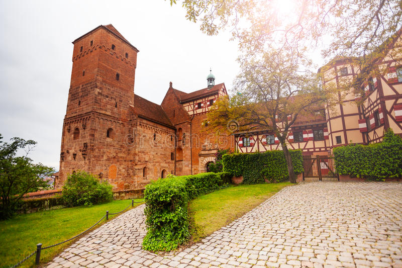 内在围场美丽的Kaiserburg,纽伦堡 库存图片
