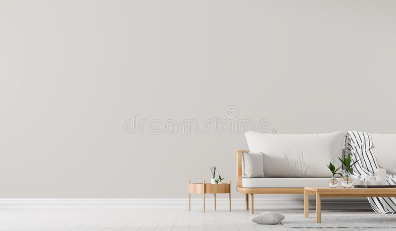 内墙嘲笑与有coffe桌的斯堪的纳维亚样式沙发 E 3d?? 皇族释放例证