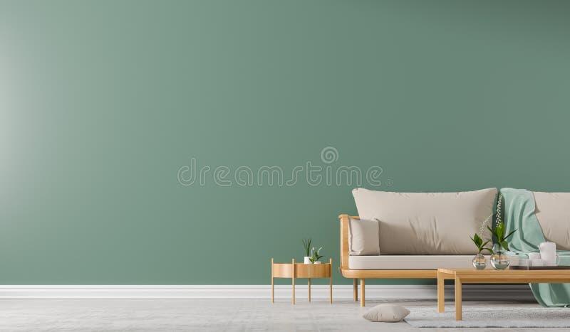 内墙嘲笑与有coffe桌的斯堪的纳维亚样式沙发 E 3d?? 库存例证