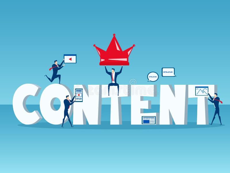 内容是国王 与美满的数字式行销的大词内容概念的企业队与象和元素的 库存例证