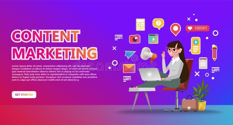 内容营销登陆的页 抽象例证 向量例证