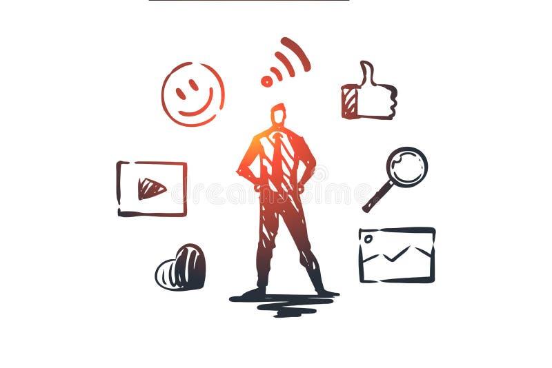 内容,互联网,媒介,战略,网络概念 手拉的被隔绝的传染媒介 向量例证