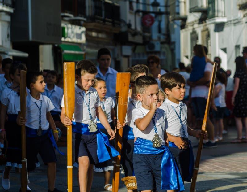 内尔哈,西班牙- 2018 7月16日,在沿海Andalu的年鉴游行 免版税库存照片