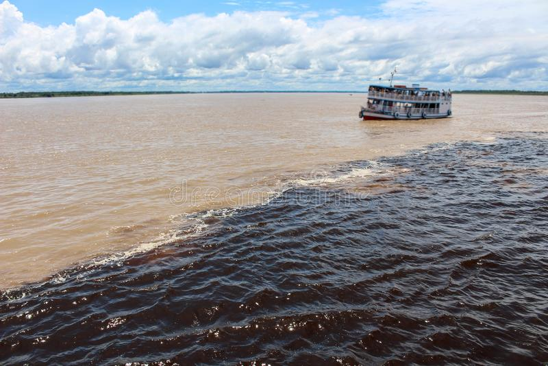 内格罗河和亚马孙河水的会议  库存图片