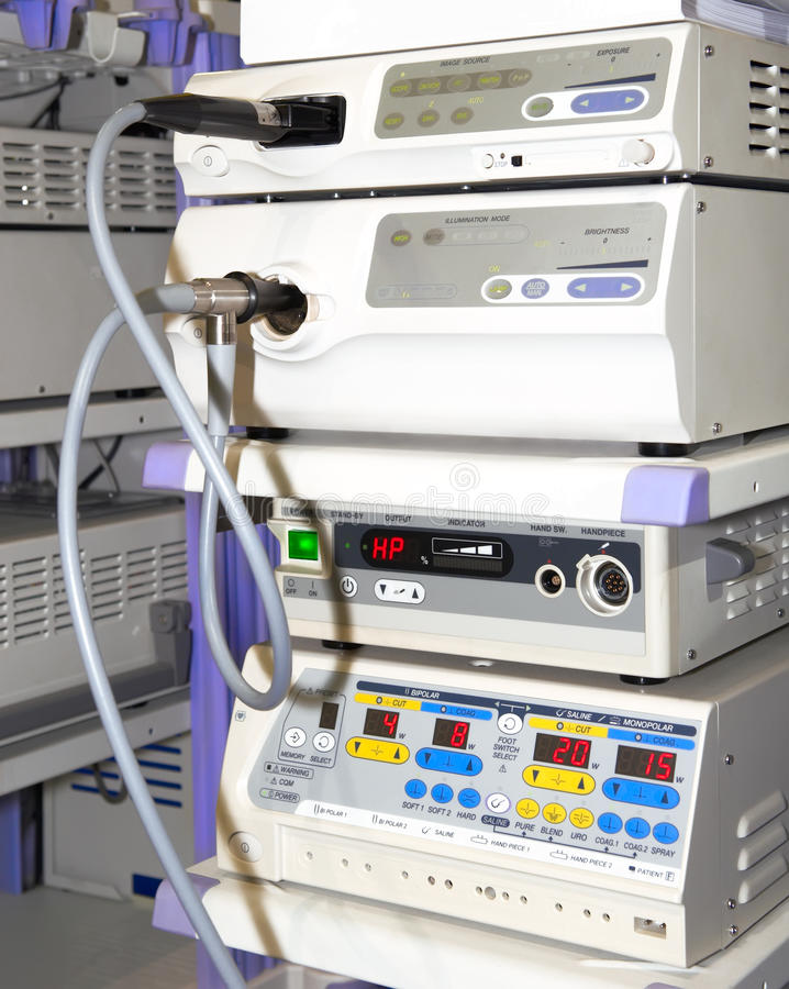 内窥镜检察现代设备的工具箱 库存照片