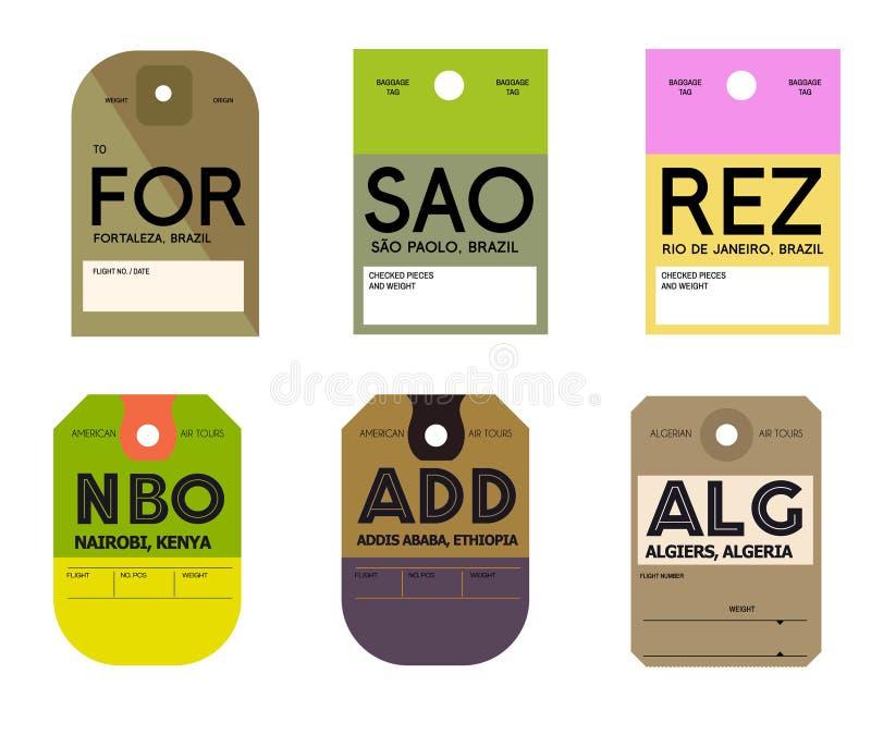 内罗毕亚的斯亚贝巴阿尔及尔福特莱萨圣地保罗里约热内卢行李标签 向量例证