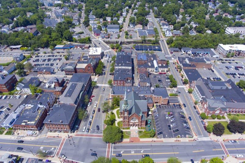 内蒂克街市鸟瞰图,马萨诸塞,美国 免版税库存照片