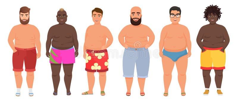 内衣的,游泳衣动画片传染媒介滑稽的肥胖人 男性泳装 库存例证