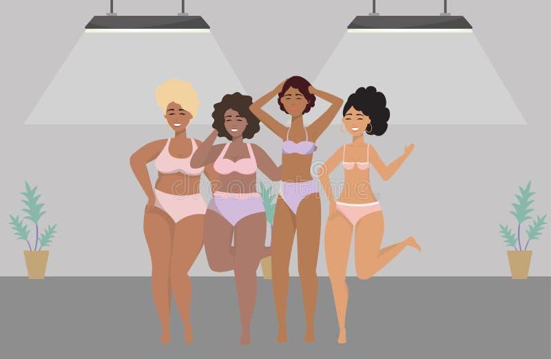 内衣设计的妇女具体化 库存例证