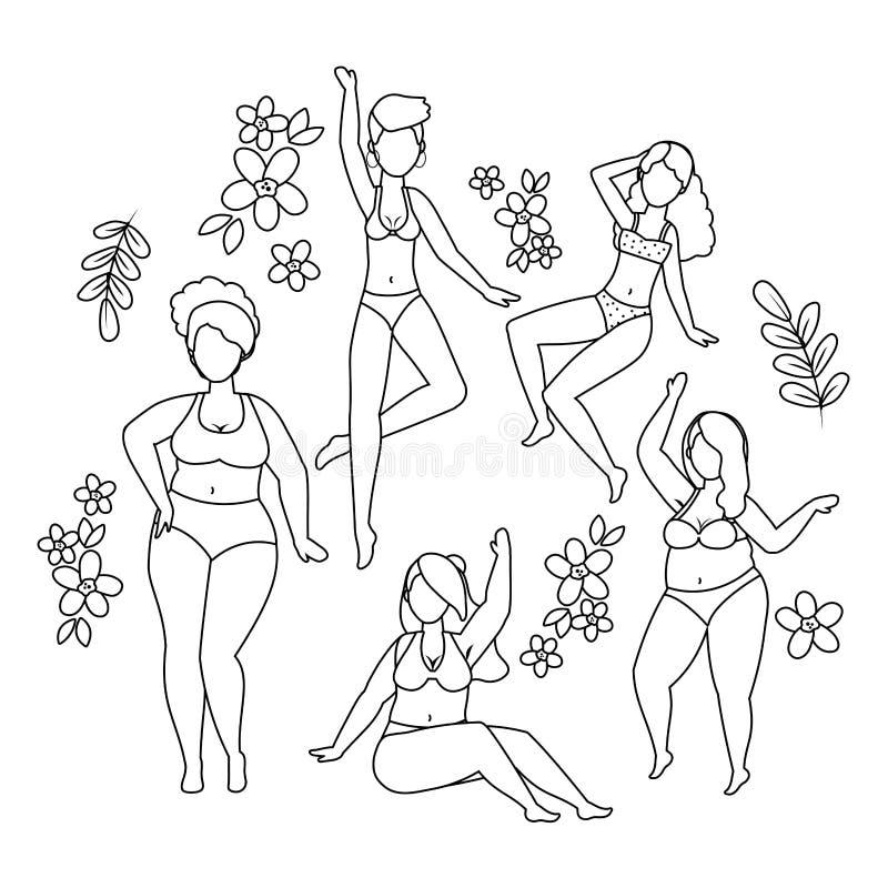 内衣设计的妇女具体化 向量例证