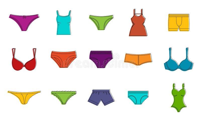 内衣象集合,颜色概述样式 向量例证