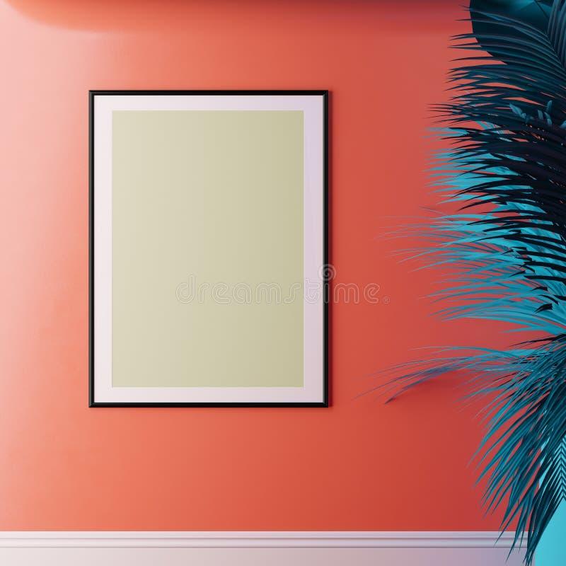 内部与框架的白色嘲笑在居住的珊瑚被绘的墙壁、叶子和植物上 向量例证