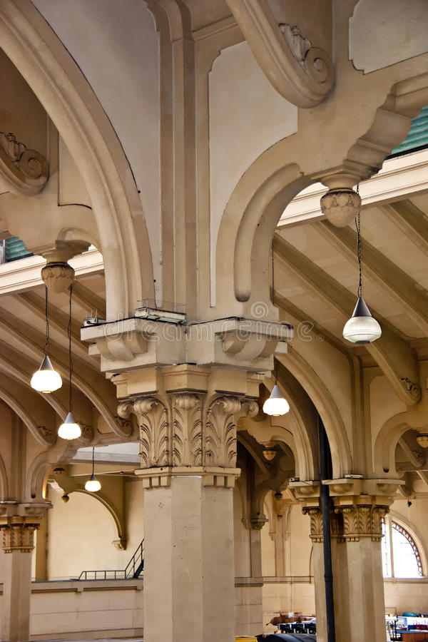 内部专栏-建筑学细节。 图库摄影