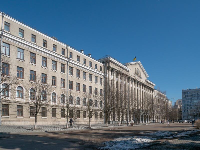 内部事务的国立学院主楼在基辅 免版税图库摄影