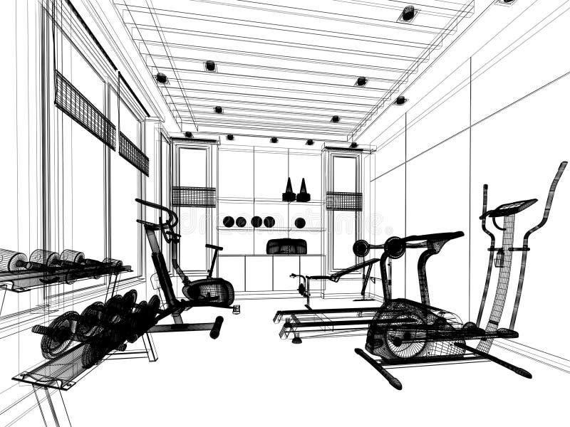内部健身室抽象剪影设计  向量例证