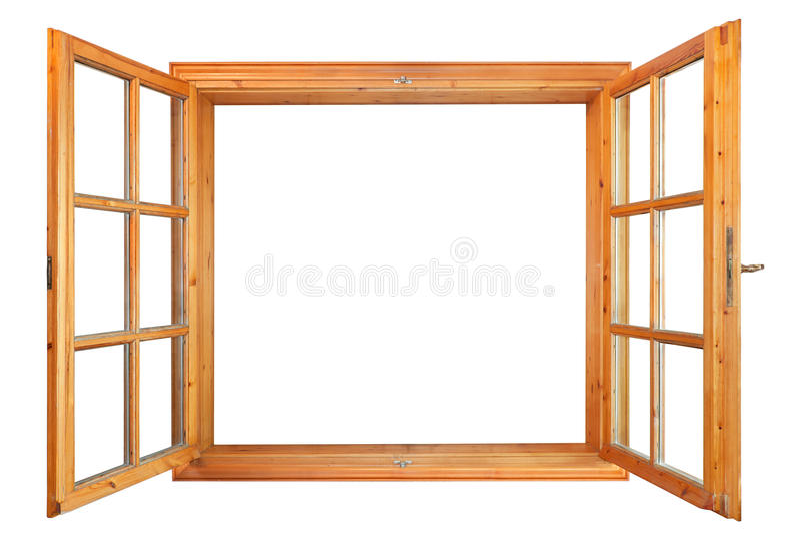内部公开的木双重窗口 免版税库存照片