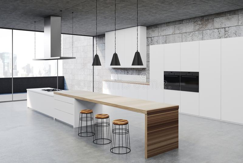 内部具体的厨房,白色内阁角落 库存例证