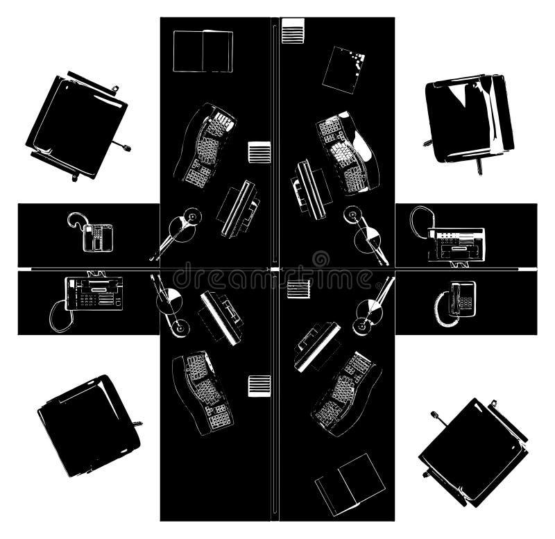 内部办公室房间传染媒介 库存例证