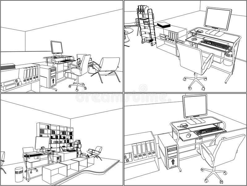 内部办公室空间向量11 皇族释放例证