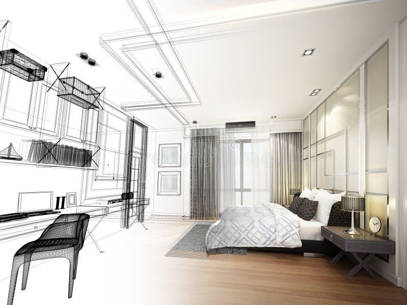 内部卧室, 3d抽象剪影设计翻译 皇族释放例证