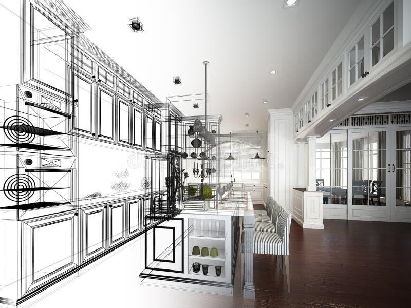 内部厨房抽象剪影设计  免版税库存图片