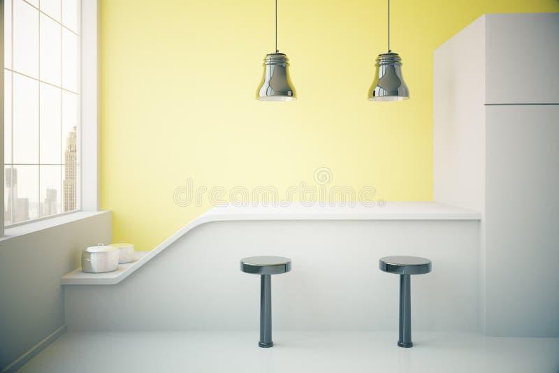 内部厨房黄色 向量例证