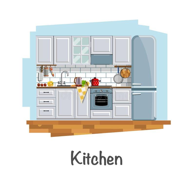 内部厨房 皇族释放例证