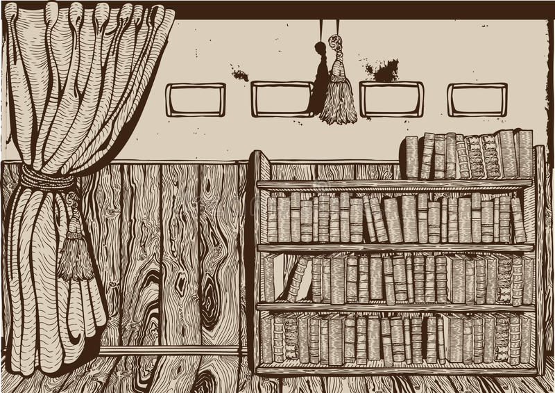 内部图书馆葡萄酒 皇族释放例证