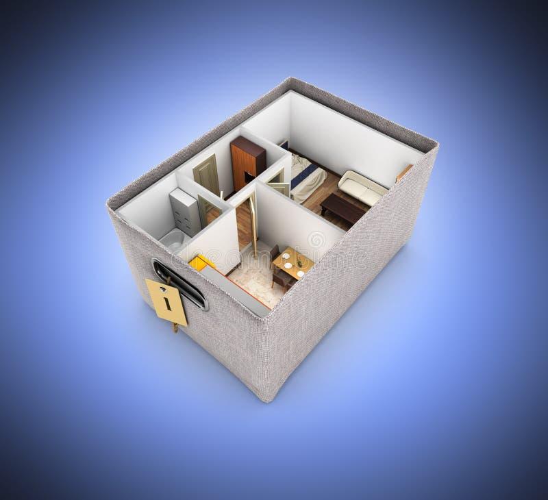 内部在买家或移动里面的箱子概念的公寓无屋顶公寓布局在深蓝梯度背景3d 向量例证