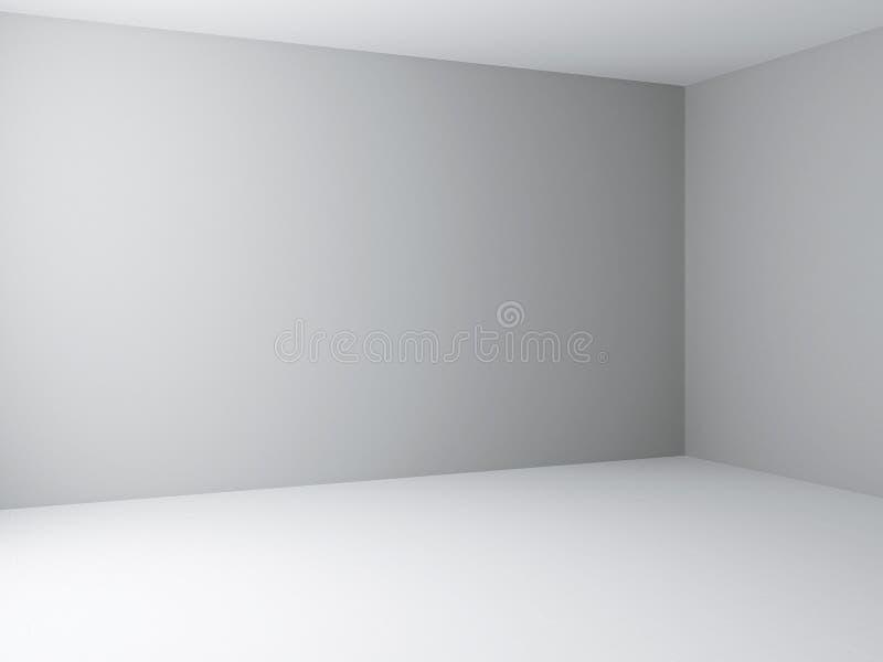 内部壁角看法、白色背景与浅灰色的墙壁和白色地板 向量例证