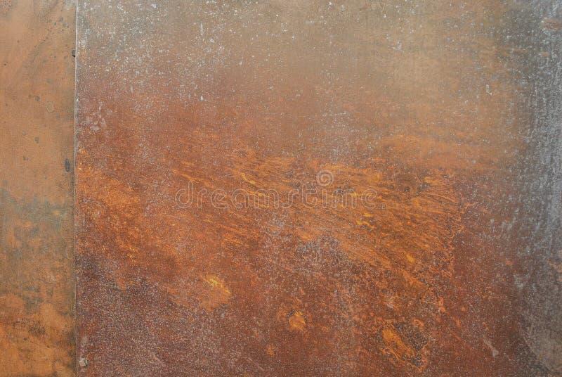 内部外部装饰和工业建筑构思设计的生锈的金属纹理背景 免版税库存图片