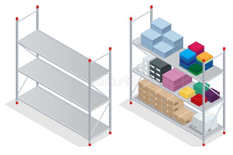 内部大商店 仓库,物品 空的架子大商店 平的3d等量传染媒介例证 库存例证