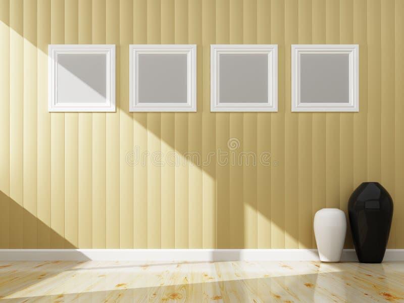内部奶油色墙壁颜色和白色框架  向量例证