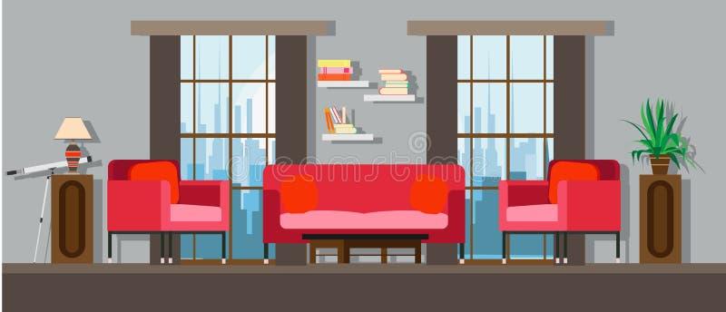 内部客厅家家具设计 现代房子公寓沙发传染媒介 平的明亮的窗口,桌,墙壁装饰 Illustratio 皇族释放例证