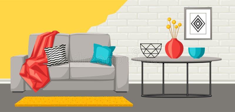 内部客厅 家具和家庭装饰 皇族释放例证